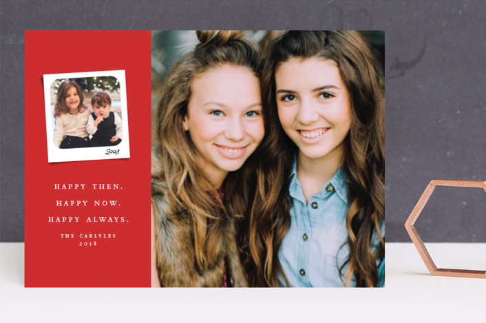"""Merry then and now"" - Christmas Photo Cards in Scarlett by Lea Delaveris."