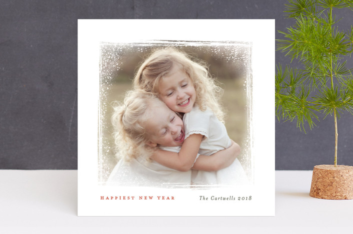 """Snow Frame"" - Christmas Photo Cards in Cranberry by Kelly Nasuta."