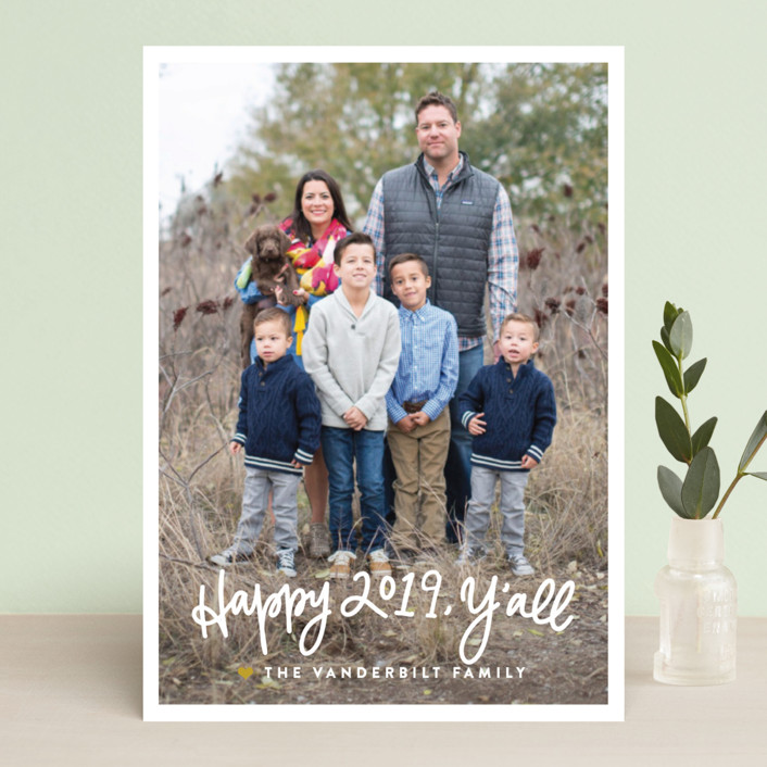 """""""Be Merry, Y'all"""" - Funny Christmas Photo Cards in Rosy Cheeks by Up Up Creative."""