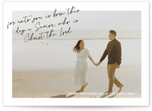 This is a white photo christmas card by Liz Conley called A Savior is Born with standard printing on recycled in standard.