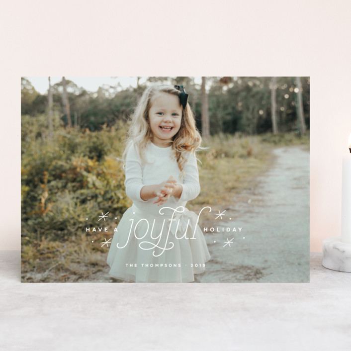 """Joyful Holiday"" - Bohemian Christmas Photo Cards in Sugar by Ink and Letter."