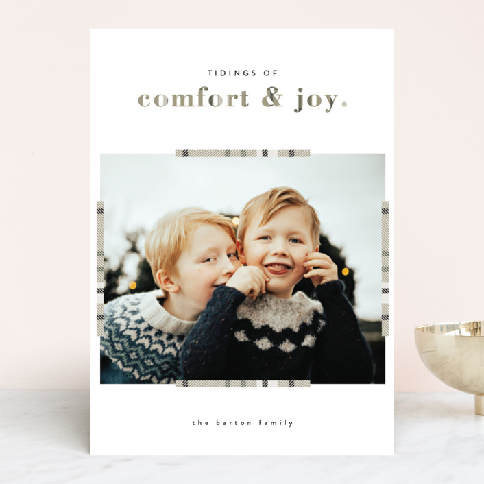 """Plaid Comfort"" - Christmas Photo Cards in Wheat by Bonjour Berry."