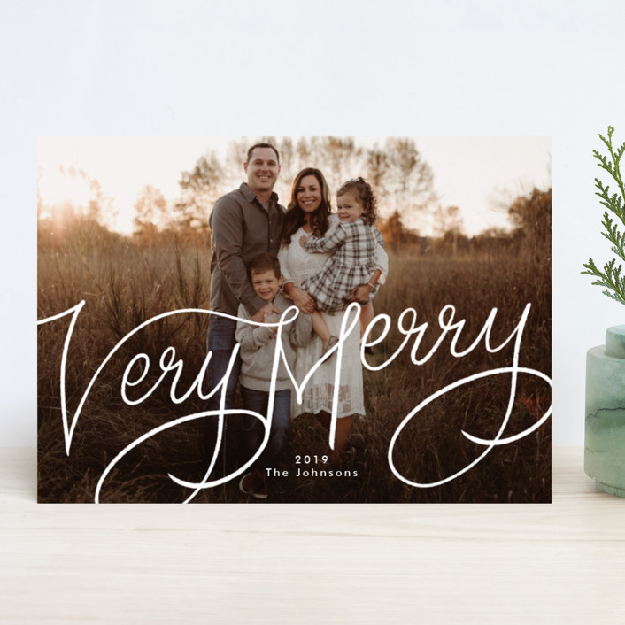 """""""Very Merry Hand Lettered"""" - Christmas Photo Cards in Snow by Becky Nimoy."""