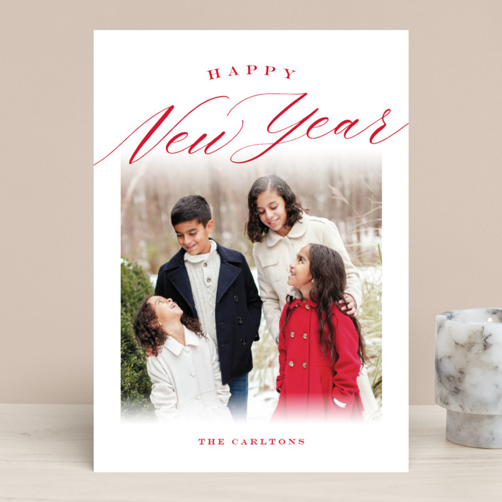 """""""Christmastide"""" - Christmas Photo Cards in Crimson by Sarah Curry."""