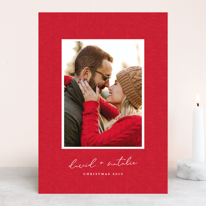 """""""Grosgrained"""" - Christmas Photo Cards in Berry by Ellis."""