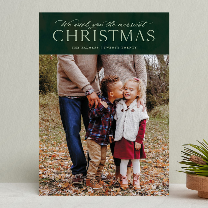 """""""We Wish"""" - Christmas Photo Cards in Forest by Ellis."""