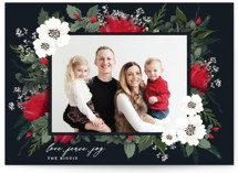 This is a black photo christmas card by Susan Moyal called Floral Surround with standard printing on smooth signature in standard.