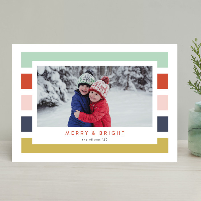 """Holiday Stripe"" - Modern Christmas Photo Cards in Confetti by Kasia Labocki."