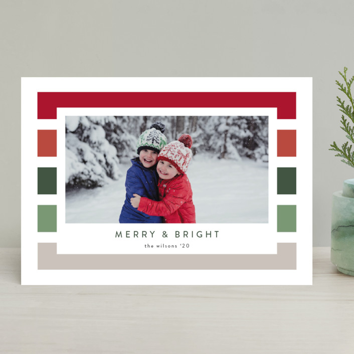 """""""Holiday Stripe"""" - Modern Christmas Photo Cards in Cranberry by Kasia Labocki."""