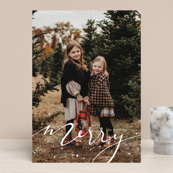 """Merry Hand-lettering"" - Bohemian Christmas Photo Cards in Light by Kann Orasie."