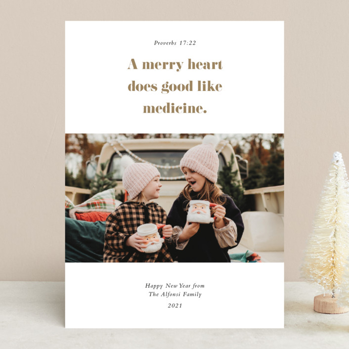 """""""Proverbs"""" - Christmas Photo Cards in Brass by Up Up Creative."""