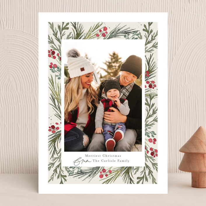 """""""Wintry Frame"""" - Christmas Photo Cards in Marshmallow by Jessica Williams."""