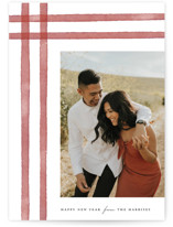 This is a red photo christmas card by Ellis called watercolor stripes with standard printing on smooth signature in standard.