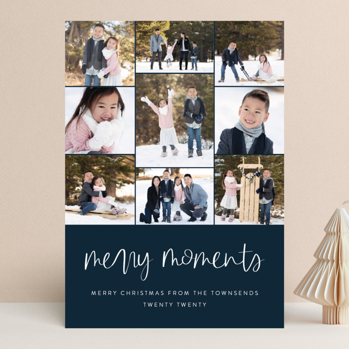 """""""Our Merry Moments"""" - Christmas Photo Cards in Navy by Jessica Maslyn."""