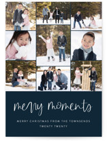 This is a blue photo christmas card by Jessica Maslyn called Our Merry Moments with standard printing on smooth signature in standard.