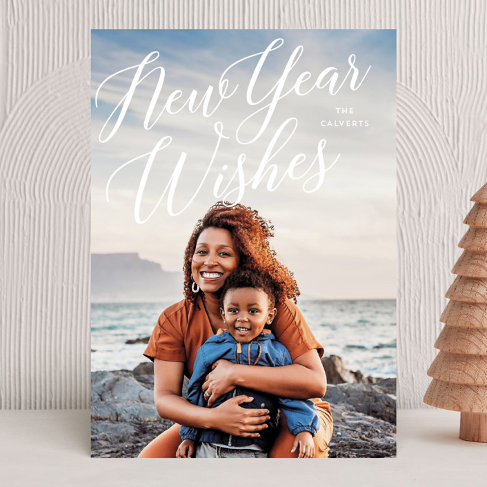 """""""Merrily Script Overlay"""" - Christmas Photo Cards in Snow by Baumbirdy."""