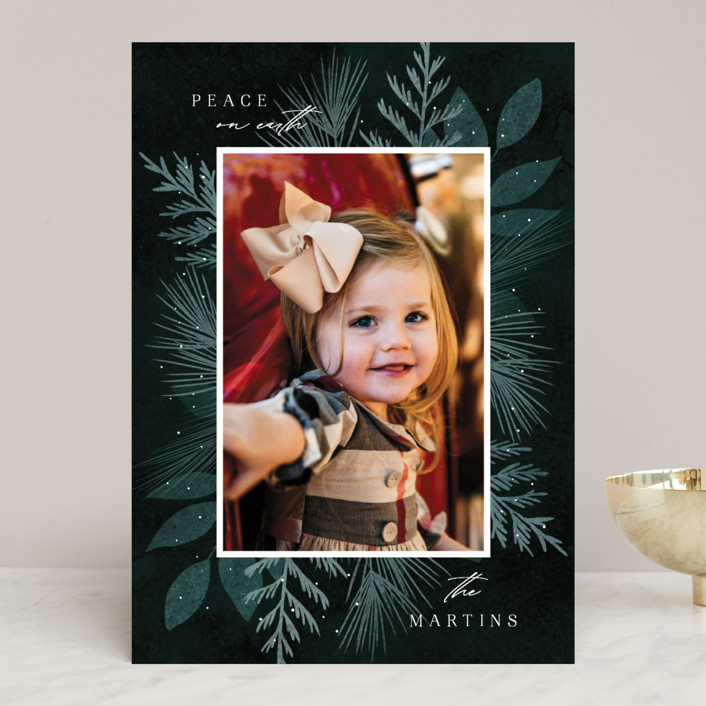"""Botanical Frame 2"" - Christmas Photo Cards in Forest by Kelly Schmidt."