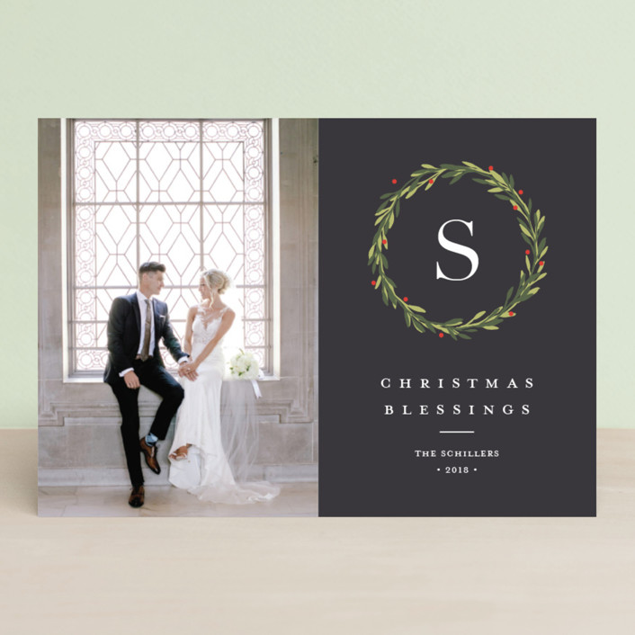 """""""Foraged greens"""" - Christmas Photo Cards in Graphite by Stacey Meacham."""