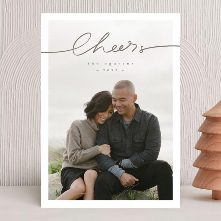 """hand written"" - Modern Christmas Photo Cards in Dust by Anastasia Makarova."