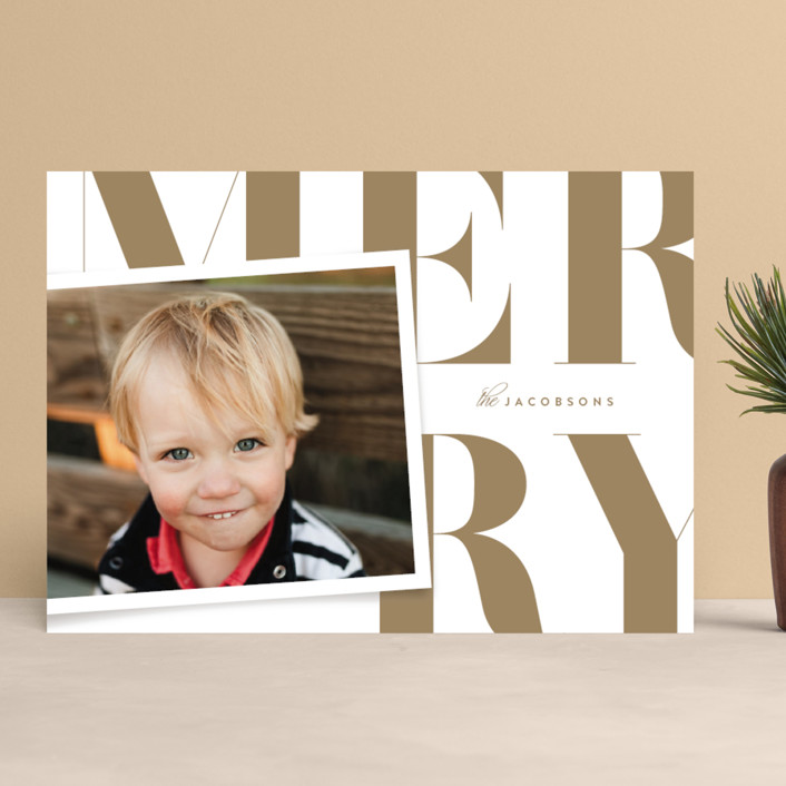 """Bold Typographic"" - Christmas Photo Cards in Golden by Kristie Kern."