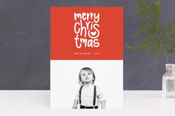 """Merry Heart Christmas"" - Christmas Photo Cards in Merlot by Up Up Creative."