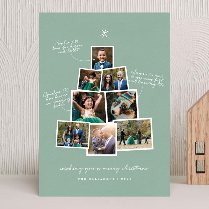 """Photo Tree"" - Christmas Photo Cards in Mint by Shari Margolin."