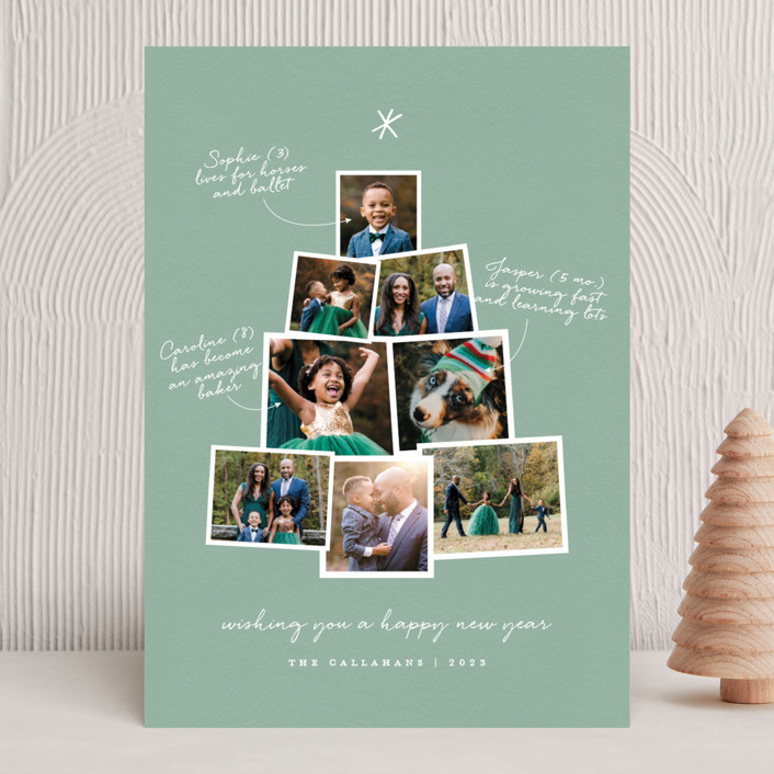 """Photo Tree"" - Christmas Photo Cards in Mint by Shari Margolin."