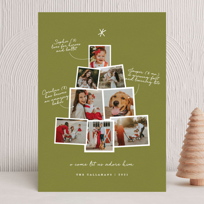 """Photo Tree"" - Christmas Photo Cards in Cranberry by Shari Margolin."
