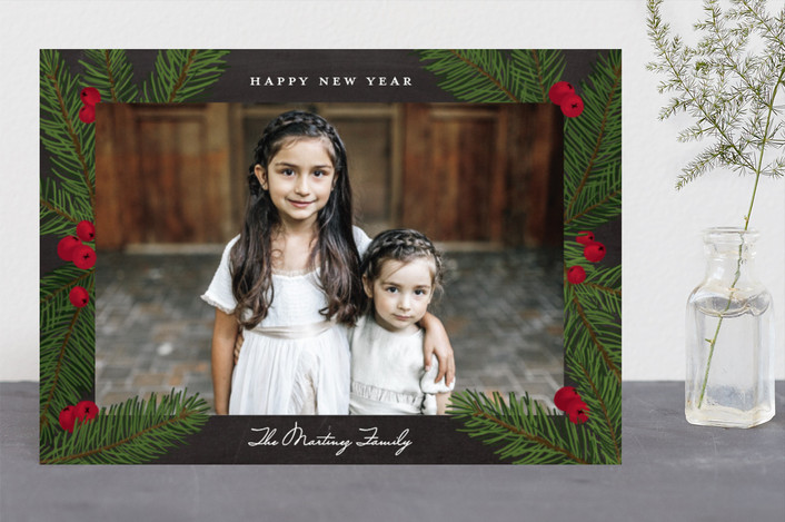 """""""Pine Sprig Frame"""" - Christmas Photo Cards in Charcoal by Paper Dahlia."""