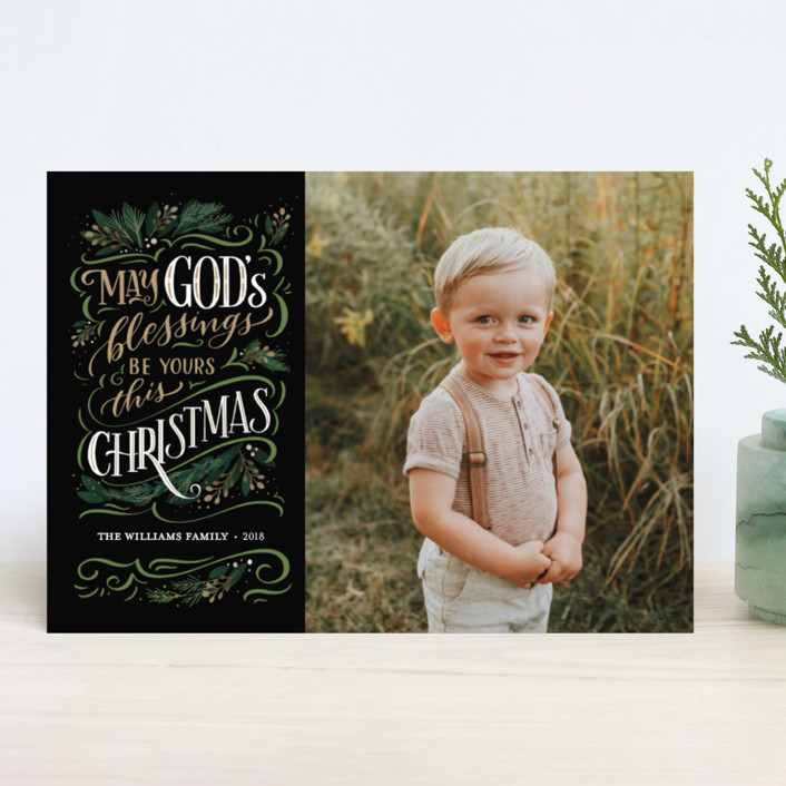 """""""God's Blessings"""" - Vintage Christmas Photo Cards in Onyx by Laura Bolter Design."""