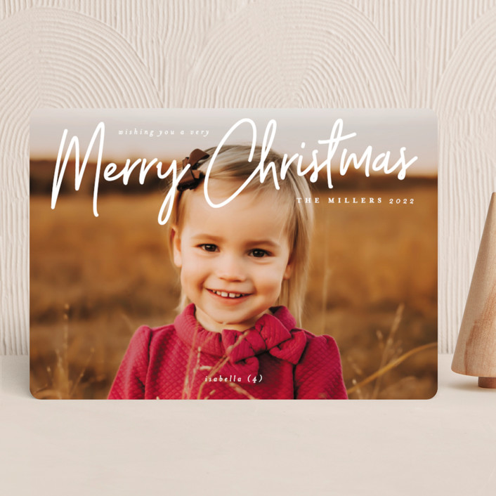 """""""A Signature Holiday"""" - Modern Christmas Photo Cards in Snow by Liz Conley."""