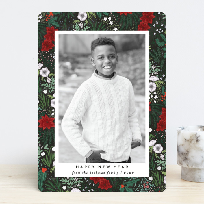 """""""Winter Foliage Toss"""" - Christmas Photo Cards in Poinsettia by Shiny Penny Studio."""