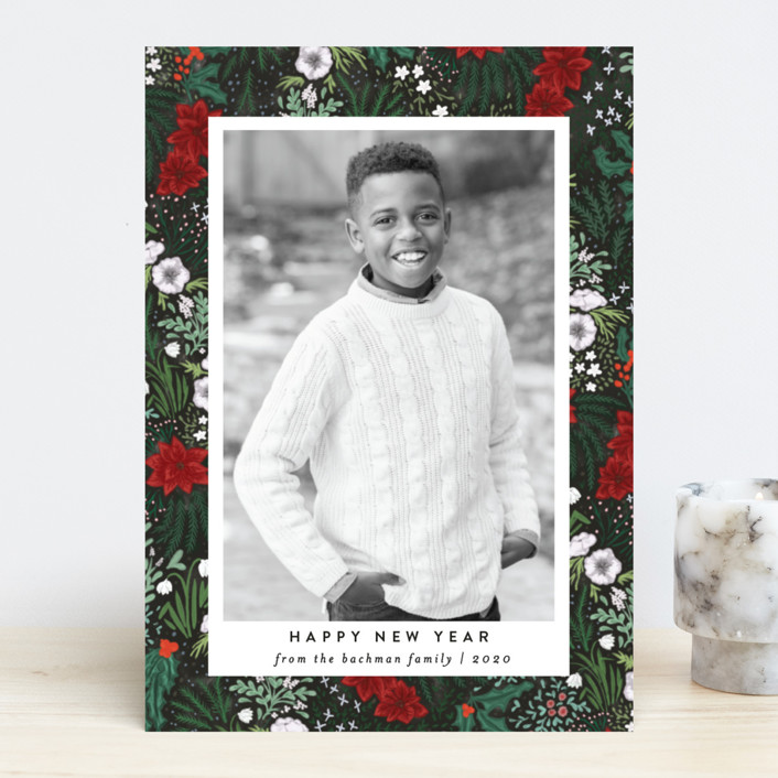 """""""Winter Foliage Toss"""" - Christmas Photo Cards in Embers by Shiny Penny Studio."""
