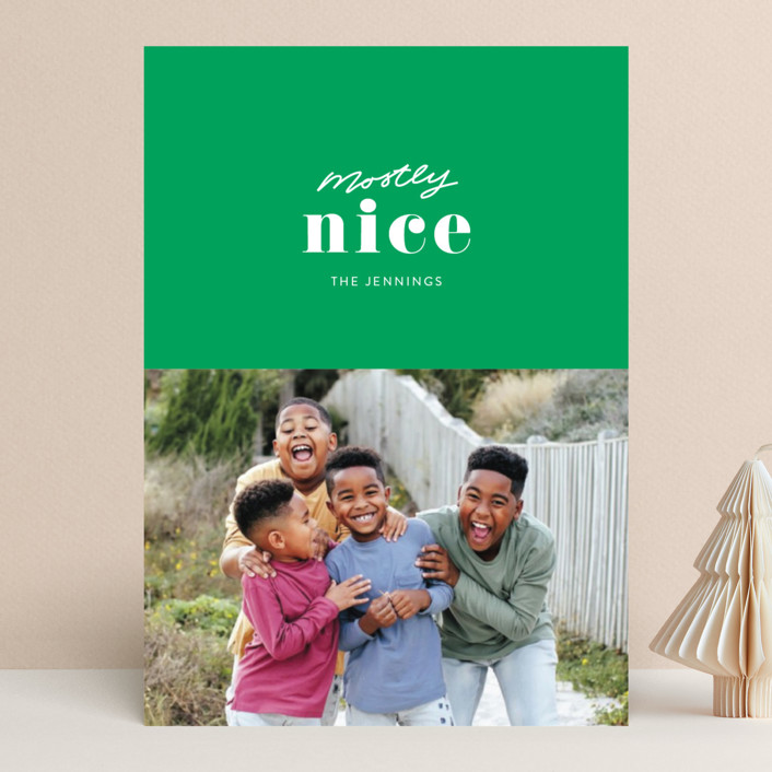 """Almost Nice"" - Funny Christmas Photo Cards in Cherry by Itsy Belle Studio."
