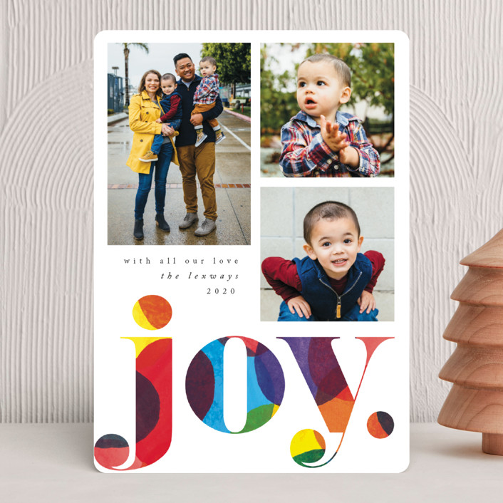 """Big Confetti"" - Christmas Photo Cards in Rainbow by Catherine Culvenor."