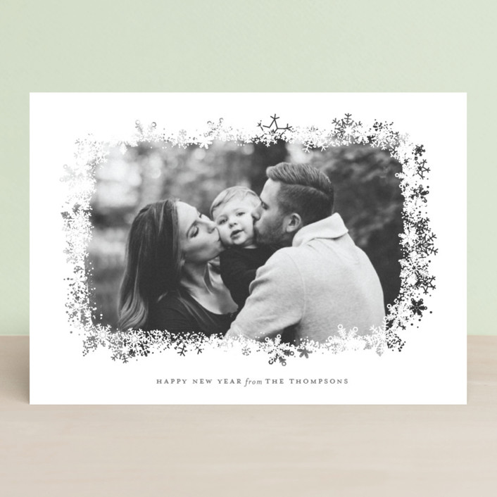"""Snowfrost"" - Christmas Photo Cards in Slate by Sarah Brown."