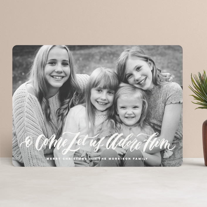 """""""O Come Let Us Adore Him"""" - Christmas Photo Cards in Peach by Wildfield Paper Co.."""