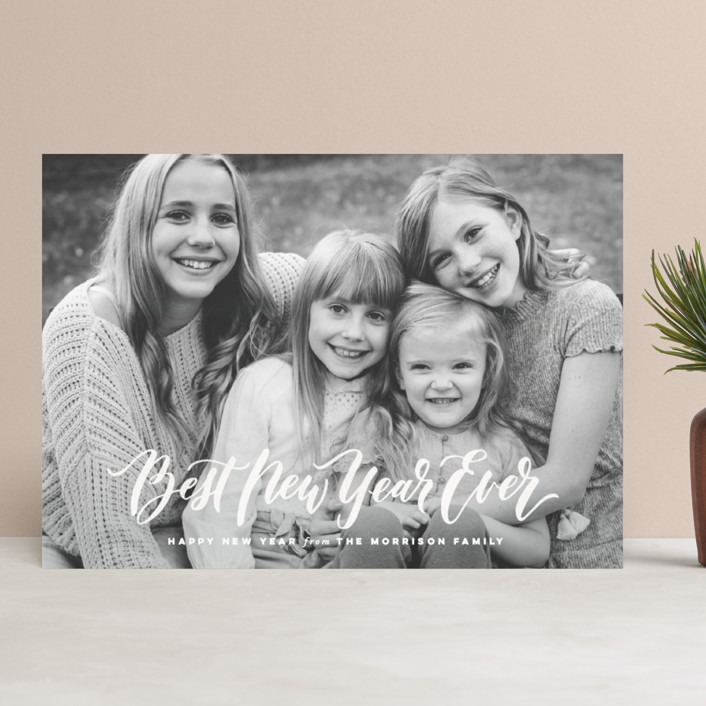 """""""O Come Let Us Adore Him"""" - Full-Bleed Photo, Vintage Christmas Photo Cards in Snow by Wildfield Paper Co.."""