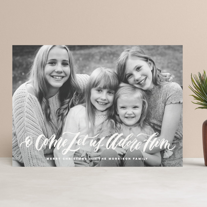 """O Come Let Us Adore Him"" - Christmas Photo Cards in Snow by Wildfield Paper Co.."
