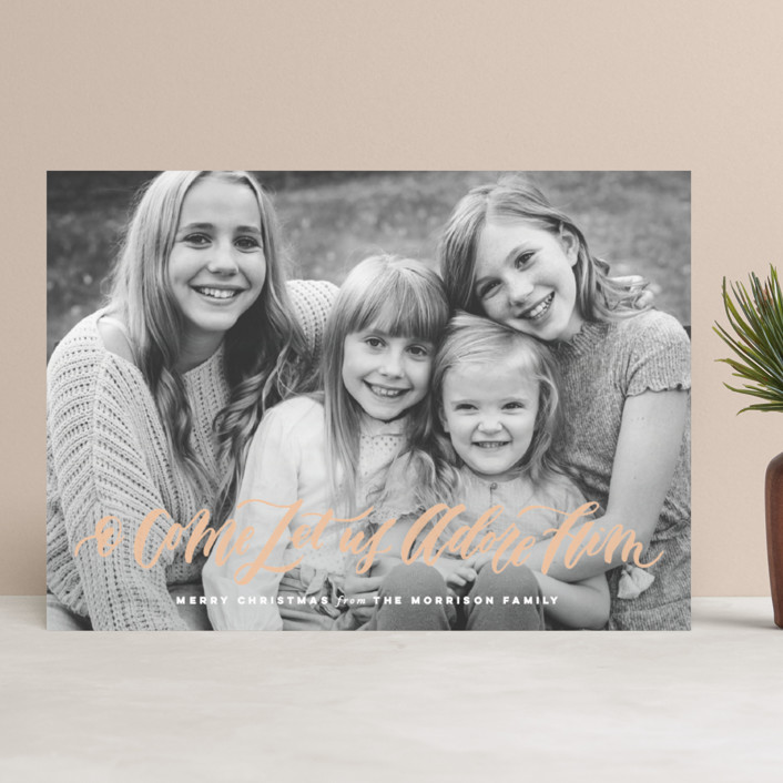 """""""O Come Let Us Adore Him"""" - Christmas Photo Cards in Snow by Wildfield Paper Co.."""