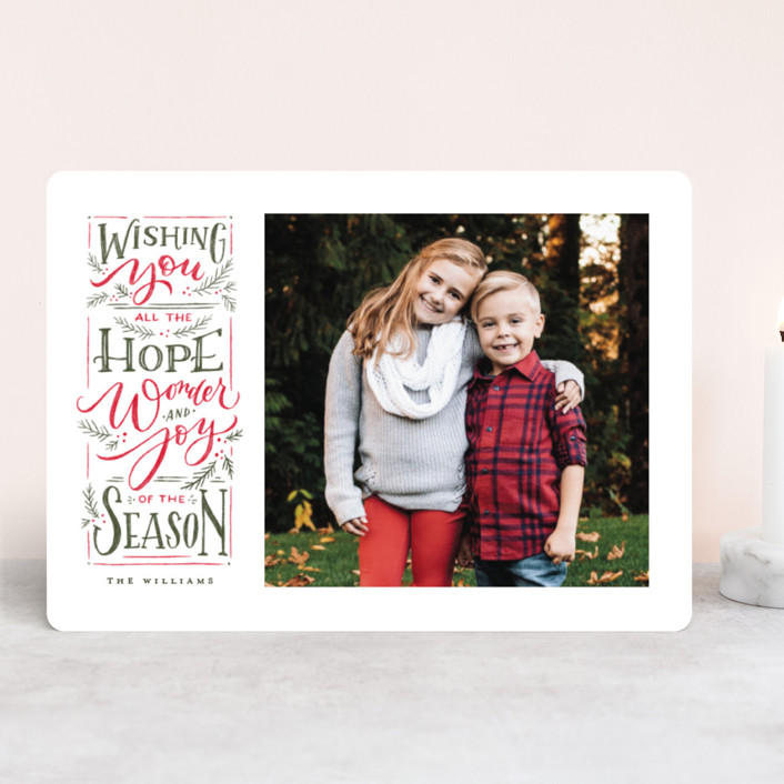 """""""Hope + Joy"""" - Christmas Photo Cards in Poinsettia by Wildfield Paper Co.."""