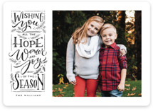 This is a black photo christmas card by Wildfield Paper Co. called Hope + Joy with standard printing on smooth signature in standard.