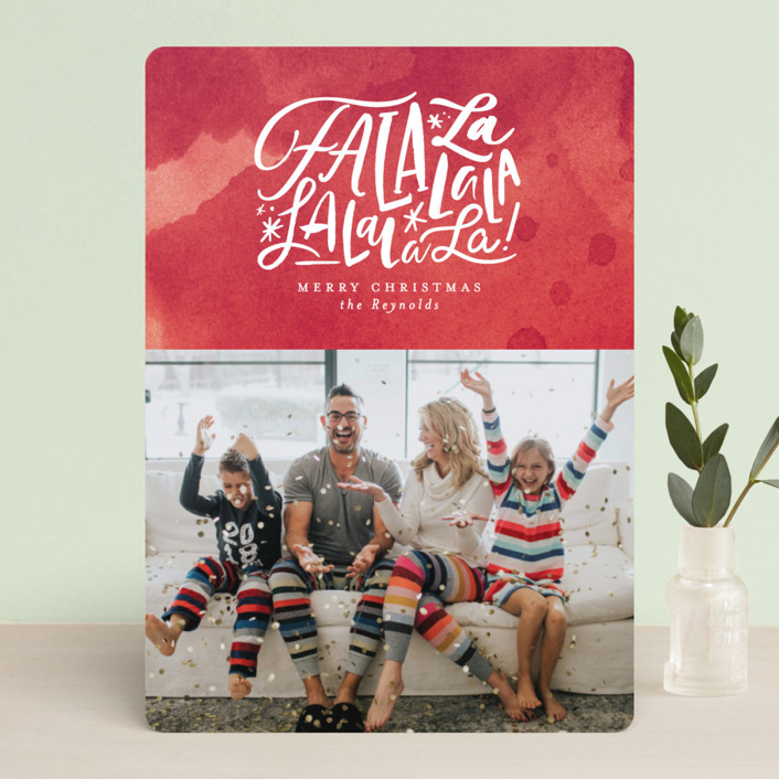 """""""Fa La Forever"""" - Christmas Photo Cards in Crimson by Carrie ONeal."""