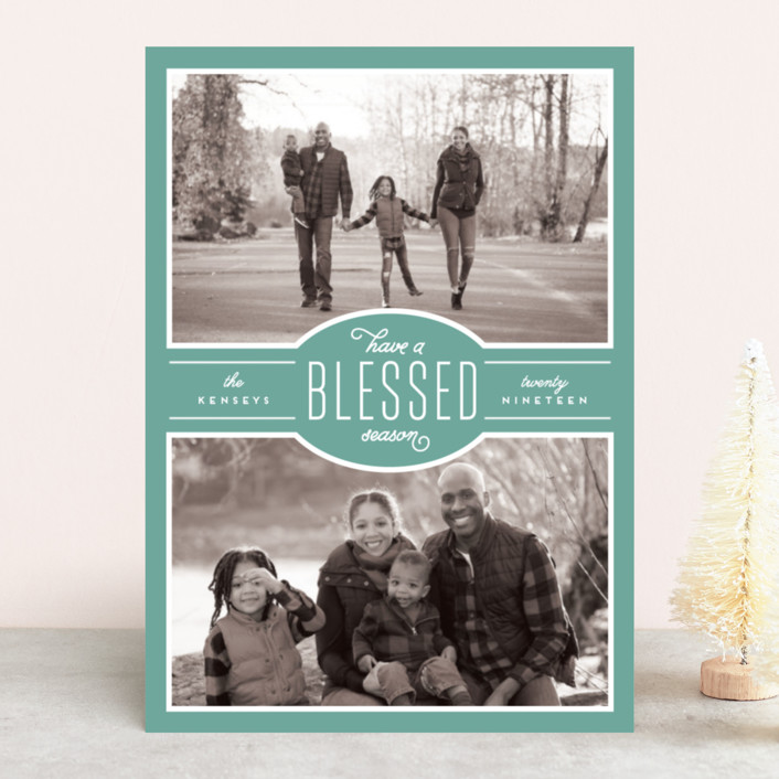 """Blessed Season"" - Vintage Christmas Photo Cards in Honey by Leah Bisch."