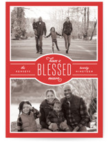 This is a red photo christmas card by Leah Bisch called Blessed Season with standard printing on smooth signature in standard.