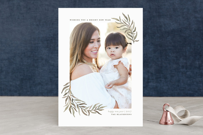 """Olive Branches"" - Christmas Photo Cards in Olive by Wildfield Paper Co.."