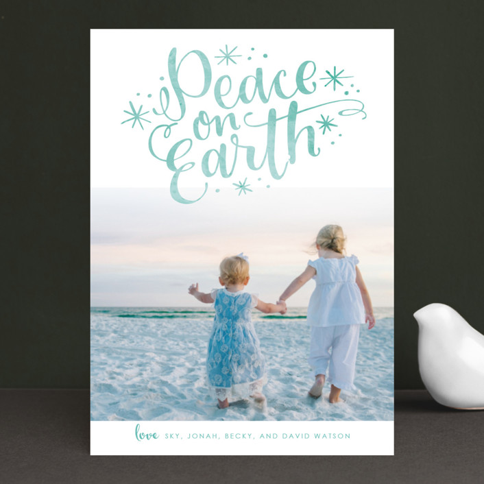"""Lettered Peace"" - Christmas Photo Cards in Seafoam by Makewells."