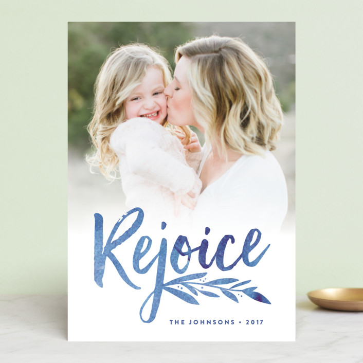"""Vivid Rejoice"" - Bohemian Christmas Photo Cards in Cobalt by Olivia Raufman."