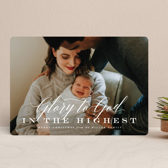 """All the Glory"" - Christmas Photo Cards in Snowflake by Lauren Chism."