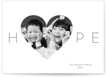 This is a black photo christmas card by Kim Dietrich Elam called Hope Heart with standard printing on smooth signature in standard.